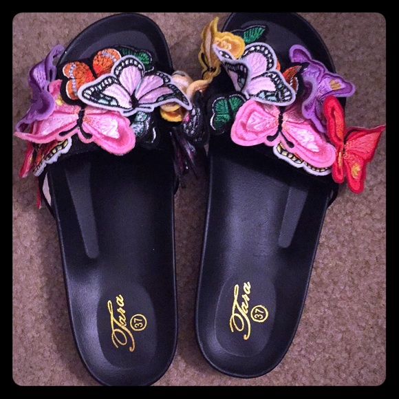 Shoes - Cute Butterfly rainbow slides